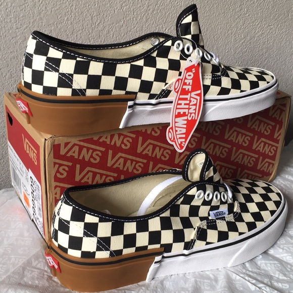 d3d68471ee5ae9 Vans Authentic Gum Block Checkerboard lady9.5